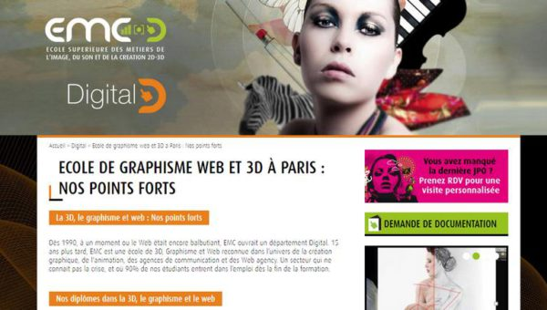 Ecole de graphisme à Paris, formation web et animation 3D